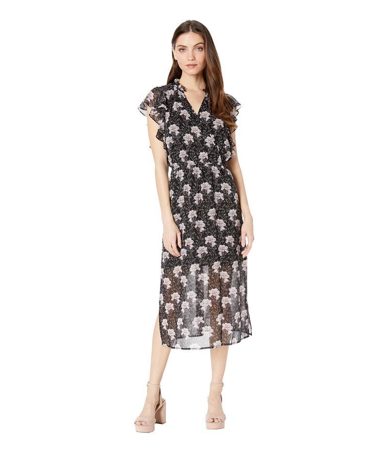 ワンステイト レディース ワンピース トップス Bloomsbury Floral Flounce Sleeve Midi Dress Rich Black Multi