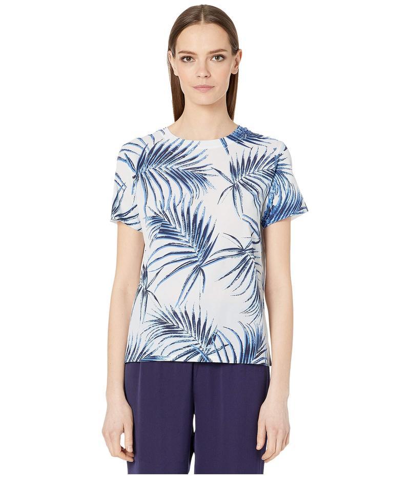 スポーツマックス レディース シャツ トップス Cadine Cotton Printed T-Shirt Light Blue