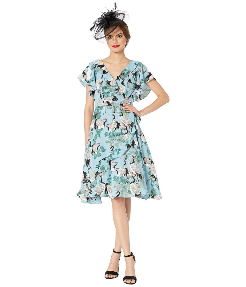ユニークビンテージ レディース ワンピース トップス 1940s Crane Print Luella Wrap Dress Light Blue/White