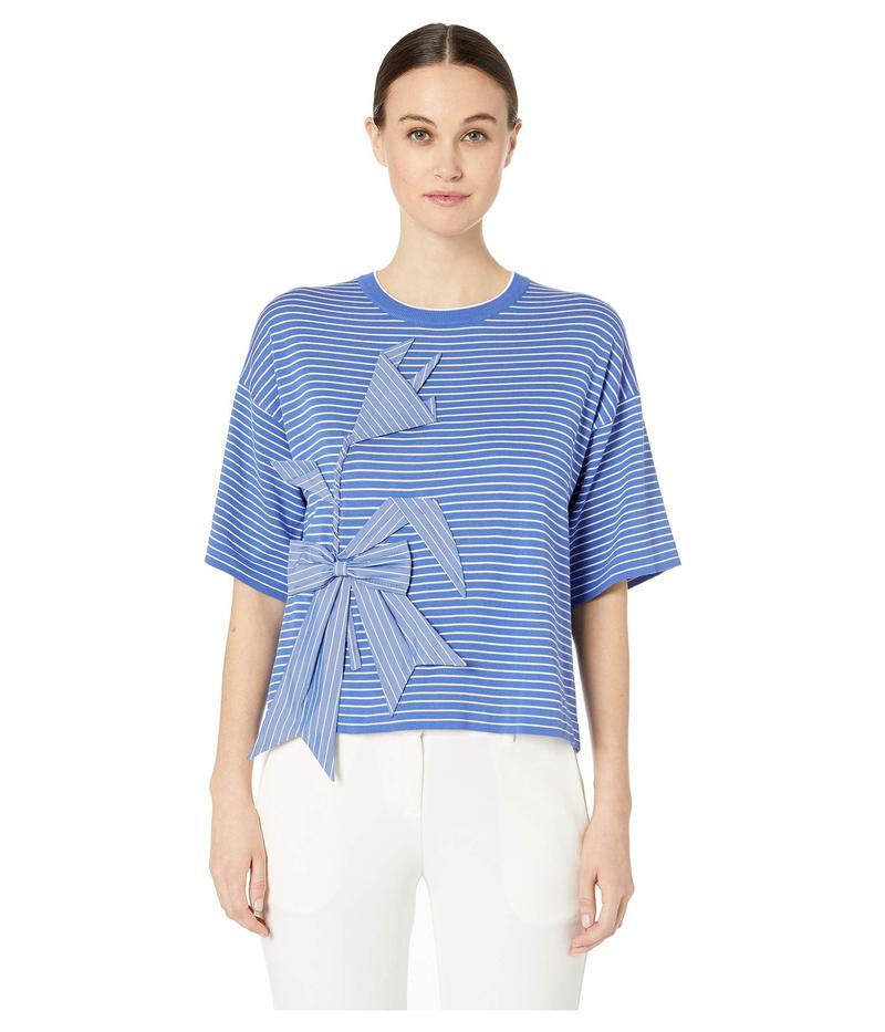 ブティックモスキーノ レディース ニット・セーター アウター Short Sleeve Applique Striped Crew Neck Sweater Blue