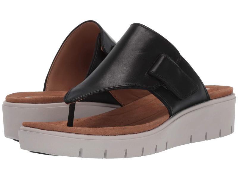 クラークス レディース サンダル シューズ Un Karely Sea Black Leather