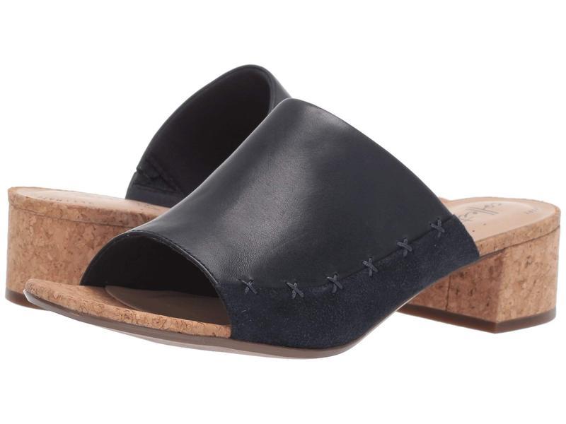 クラークス レディース ヒール シューズ Elisa Abby Navy Leather/Suede Combi