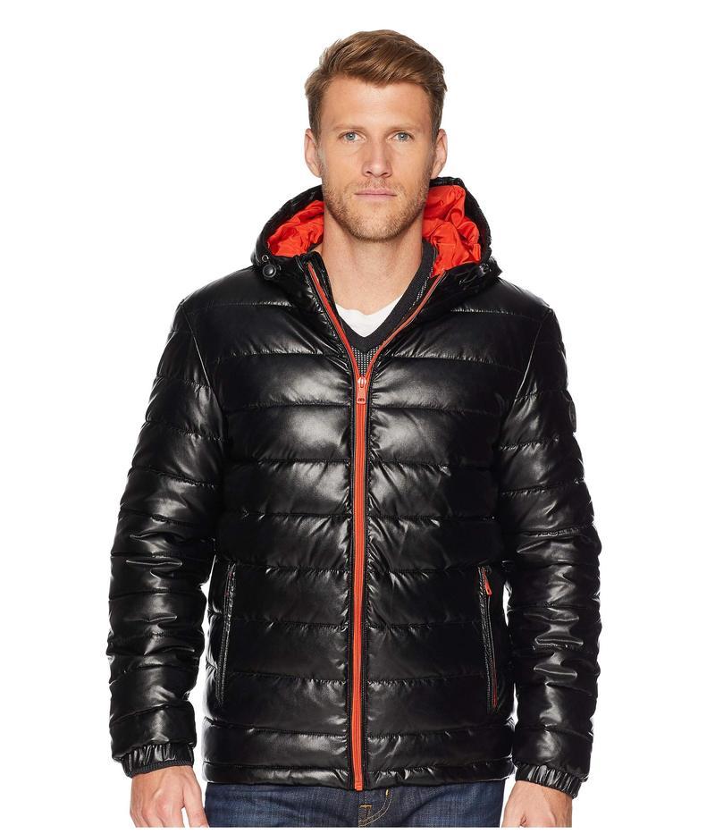コールハーン メンズ コート アウター Faux Leather Faux Down Jacket Black/Orange