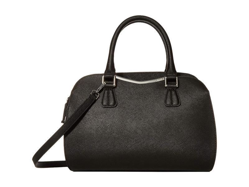 カルバンクライン レディース ハンドバッグ バッグ On My Corner Saffiano Leather Satchel Black/Silver