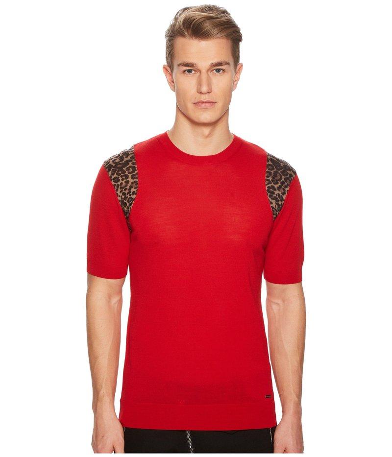 ディースクエアード メンズ ニット・セーター アウター Short Sleeve Sweater Red/Leopard