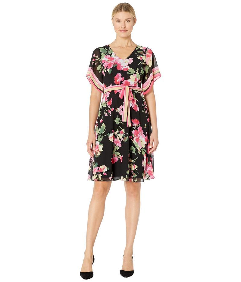 ドナモーガン レディース ワンピース トップス Printed Chiffon Wrap Dress Black/Berry Pink Multi