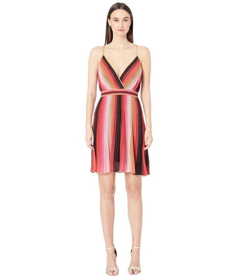 エム ミッソーニ レディース ワンピース トップス Spaghetti Strap Vertical Stripe Short Dress Red/Black