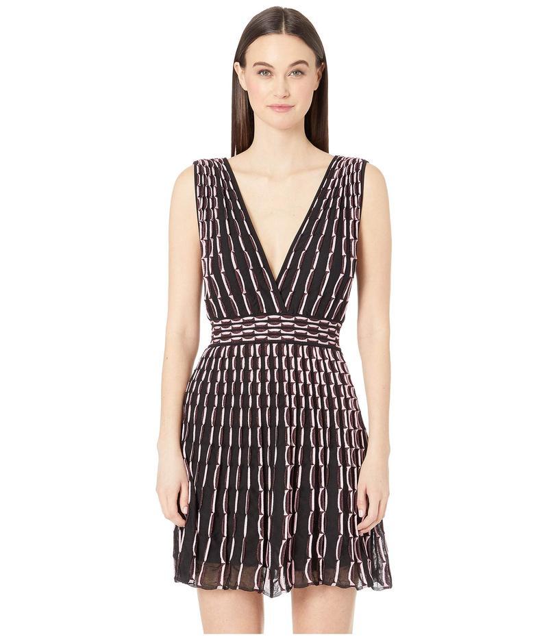 エム ミッソーニ レディース ワンピース トップス Double V Wave Jacquard Short Dress Pink/Black