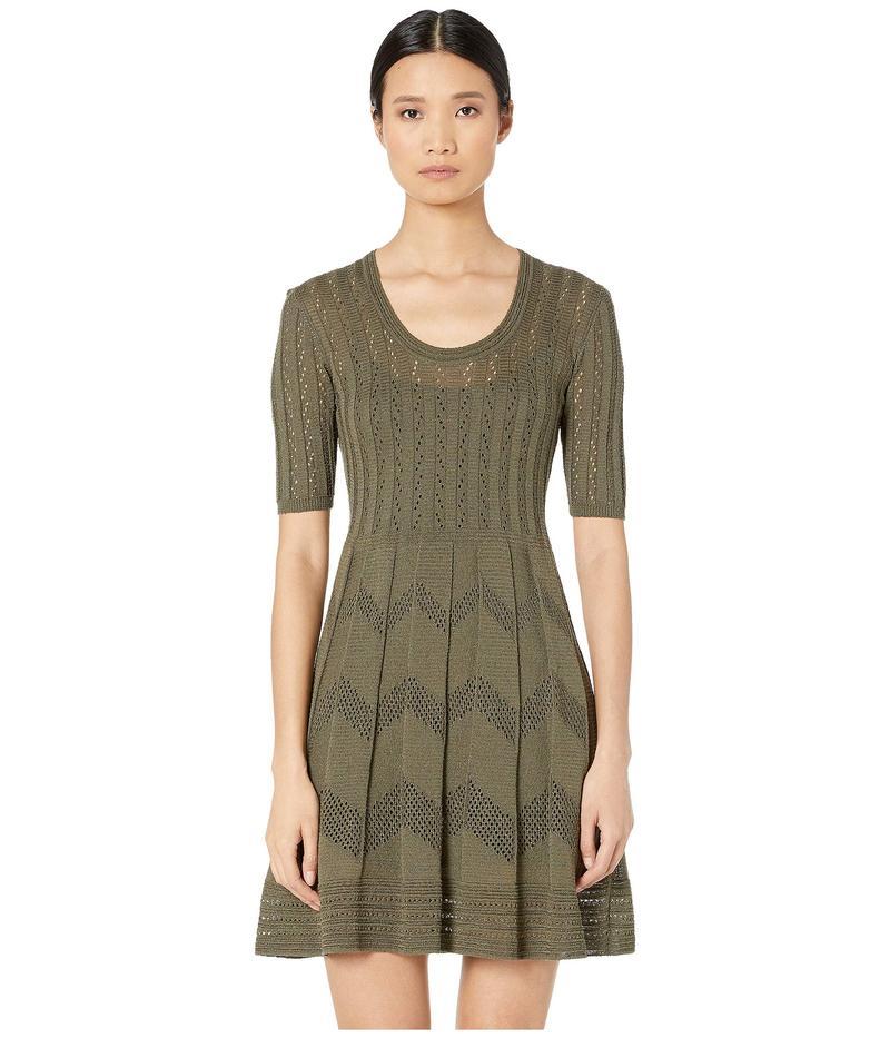 エム ミッソーニ レディース ワンピース トップス Short Sleeve U-Neck Short Dress in Zigzag Stitch Dark Beige