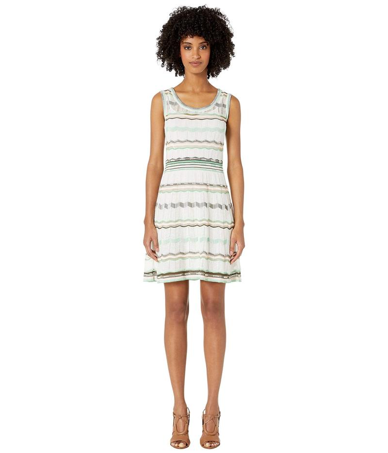エム ミッソーニ レディース ワンピース トップス Sleeveless Short Dress in Multicolor Ziazag Stitch White/Green Multi