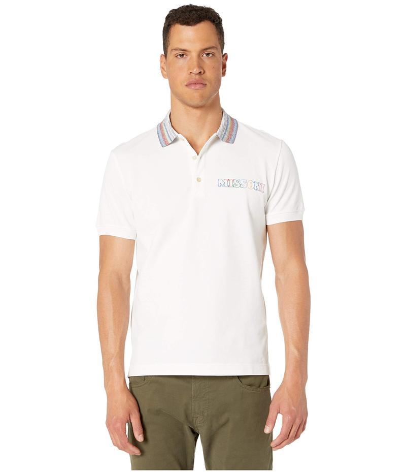 ミッソーニ メンズ シャツ トップス Pique Contrast Collar Polo White