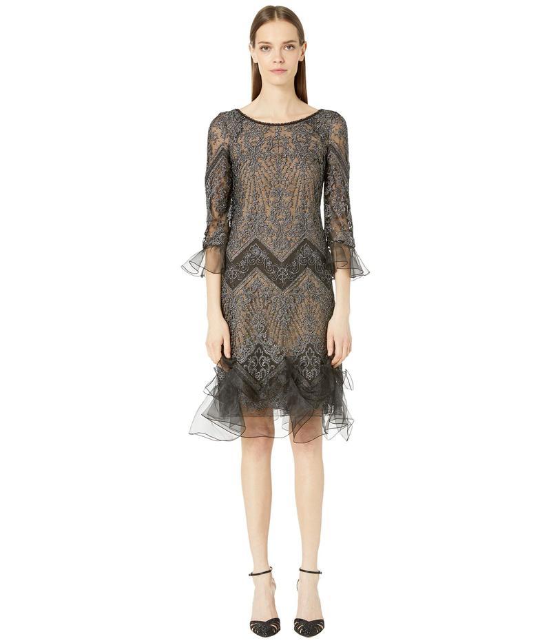 マルケッサ レディース ワンピース トップス Metallic Chevron Lace Mini Dress Black