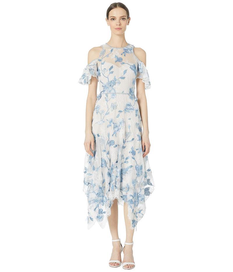 マルケサノット レディース ワンピース トップス Cold Shoulder Corded Lace Embroidered Tulle Tea Length Dress Ivory