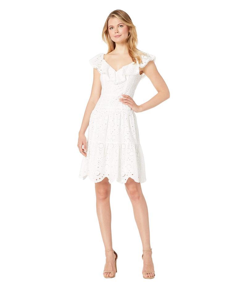 ナネットレポー レディース ワンピース トップス Tiered Eyelet Dress White