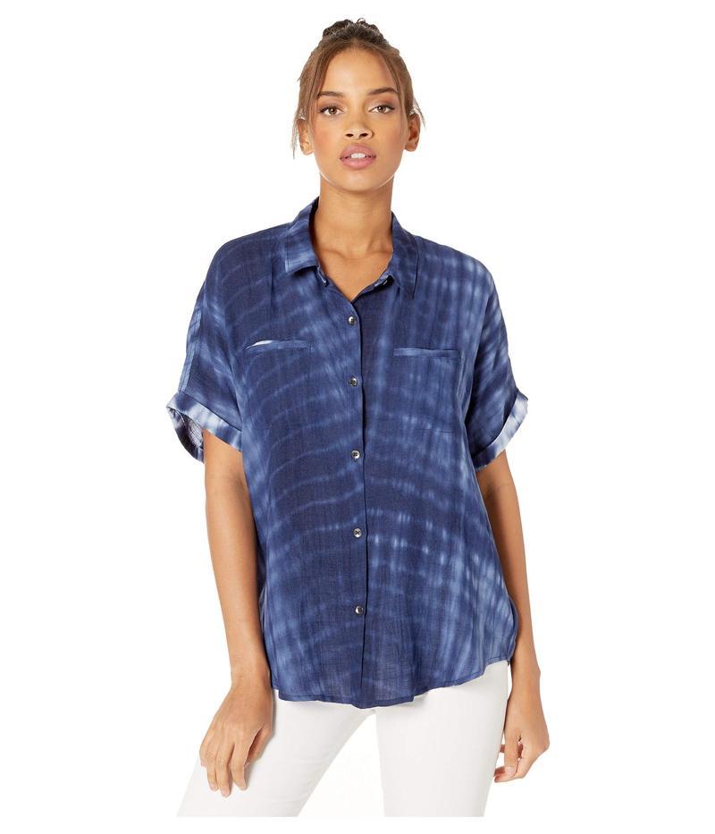 スプレンディット レディース シャツ トップス Tie-Dye Short Sleeve Button Up Navy Treatment Print