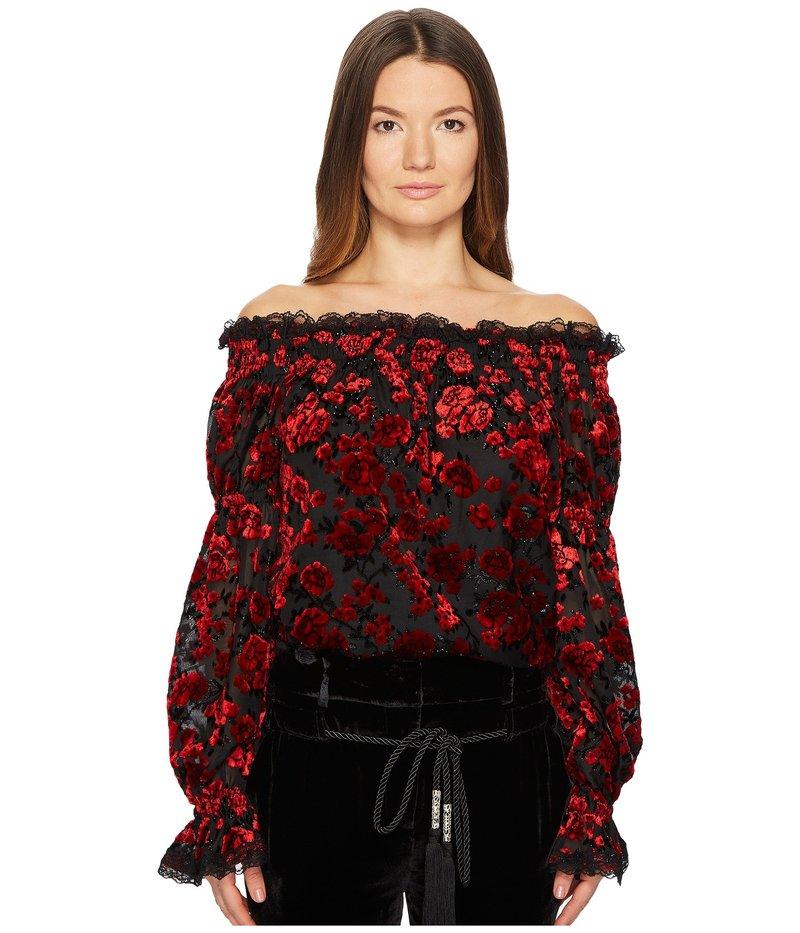 ザ・クープルス レディース シャツ トップス Floral Devore Top with Bare Shoulders Red
