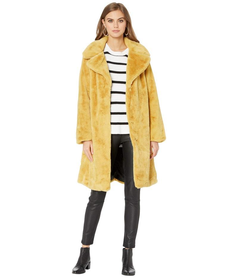 アヴェックレフィーユ レディース コート アウター Faux Fur Knee-Length Coat Mustard