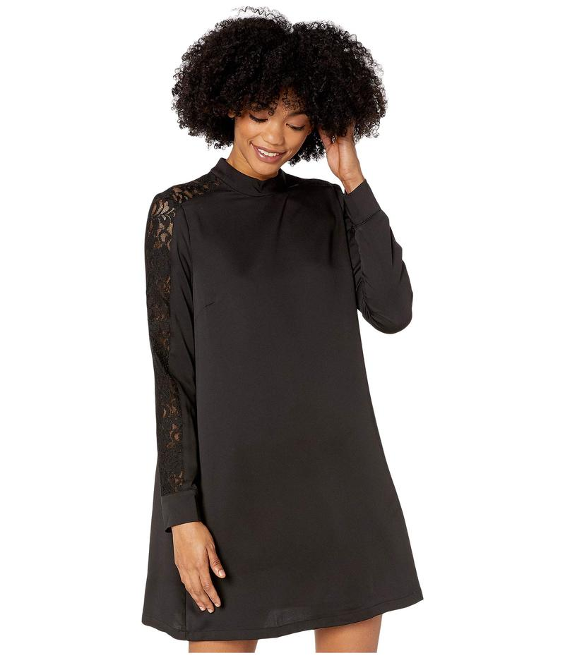 ビーシービージーマックスアズリア レディース ワンピース トップス Mock Neck Long Sleeve Woven Dress Black