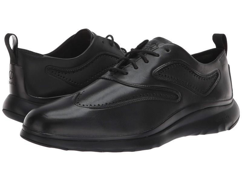 コールハーン メンズ スニーカー シューズ 3.Zerogrand Wingtip Oxford Black Leather/Black