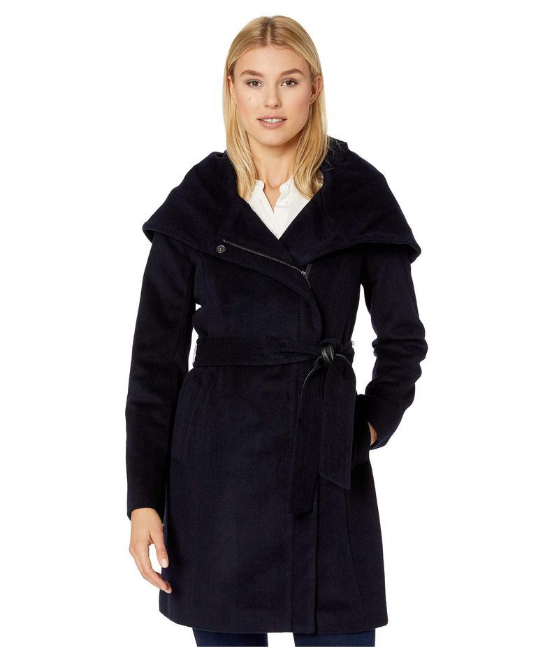 コールハーン レディース コート アウター Slick Wool Belted Jacket with Oversized Hood Navy