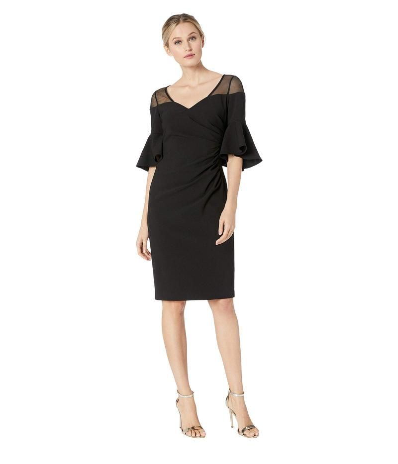 カルバンクライン レディース ワンピース トップス Ruched Waist with Illusion Shoulder Dress Black