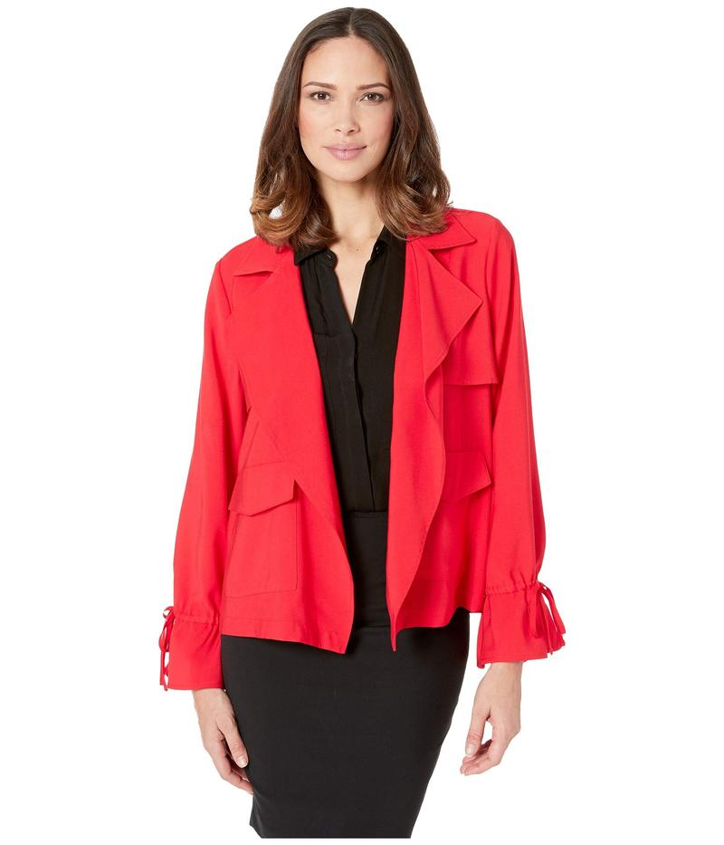 セセ レディース コート アウター Long Sleeve Open Front Short Trench Coat Scarlet Glow