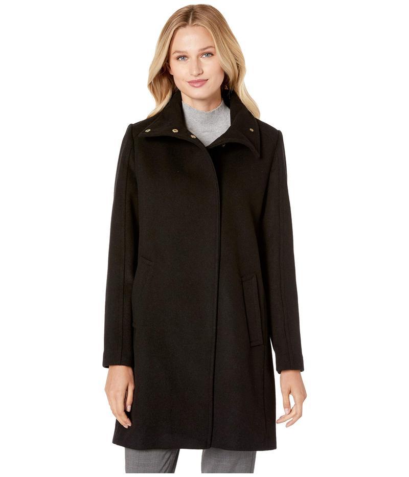 コールハーン レディース コート アウター Slick Wool Topper Coat w/ Snap Closure Black