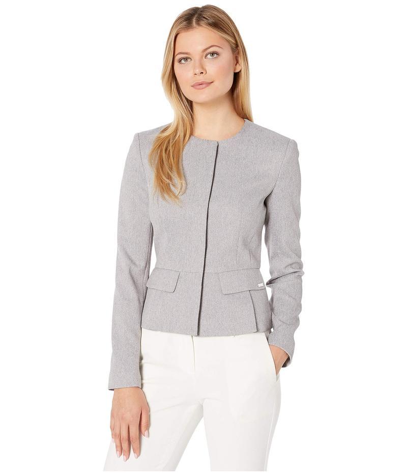 カルバンクライン レディース コート アウター Peplux Twill Button Front Jacket Tin/Cream