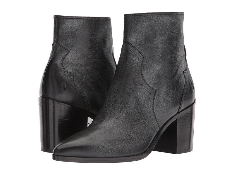 フライ レディース ブーツ・レインブーツ シューズ Flynn Short Inside Zip Black Polished Soft Full Grain Leather