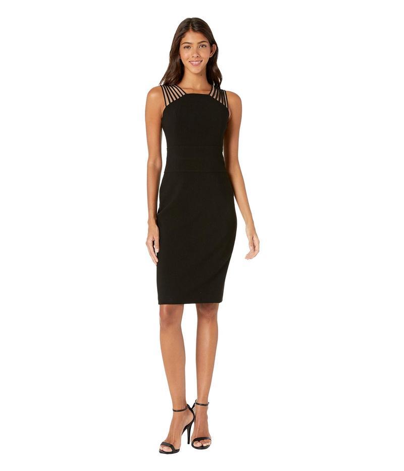 ホルストンヘリテイジ レディース ワンピース トップス Sleeveless Square Neck Shoulder Strips Crepe Dress Black 1