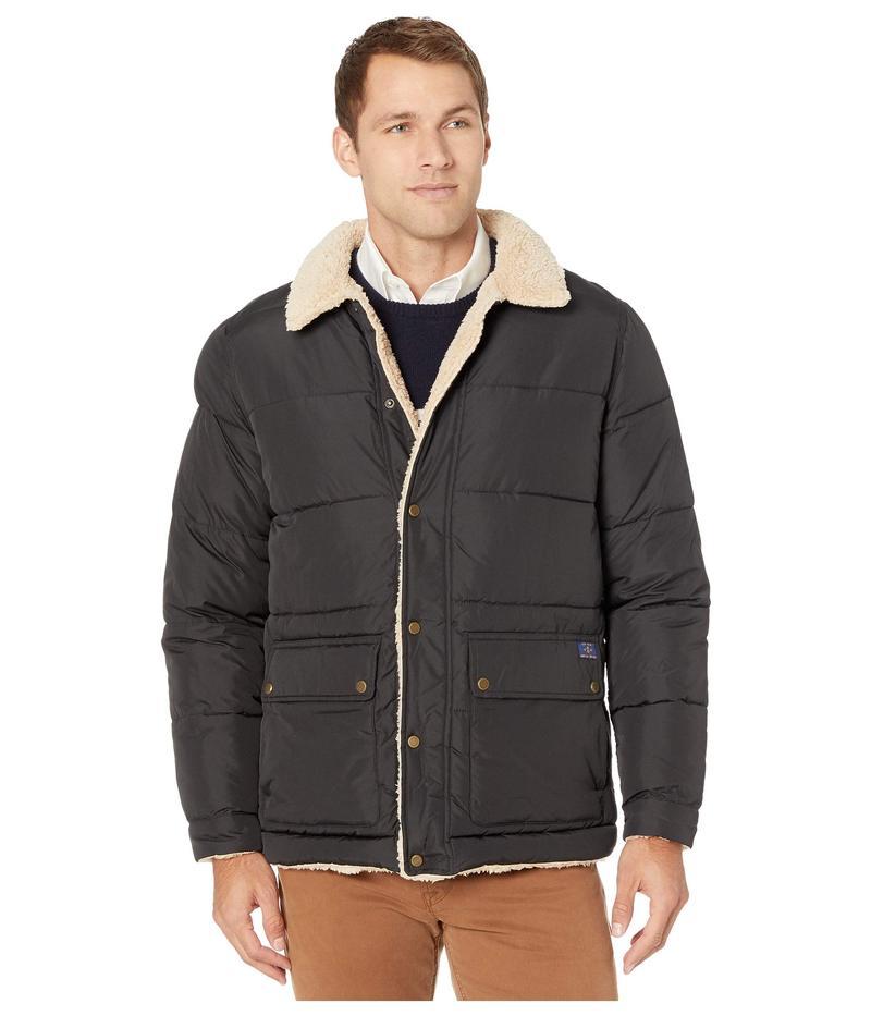 アイゾッド メンズ コート アウター Quilted Hipster Jacket w/ Sherpa Trim Black