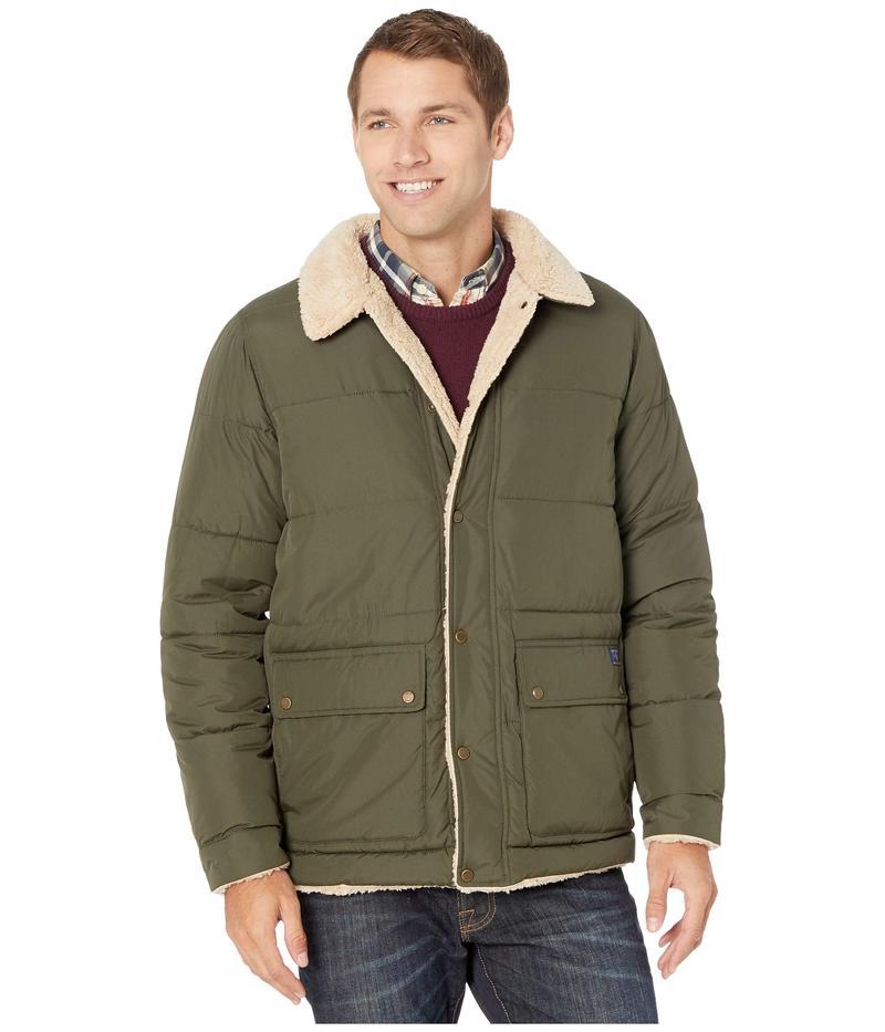 アイゾッド メンズ コート アウター Quilted Hipster Jacket w/ Sherpa Trim Olive