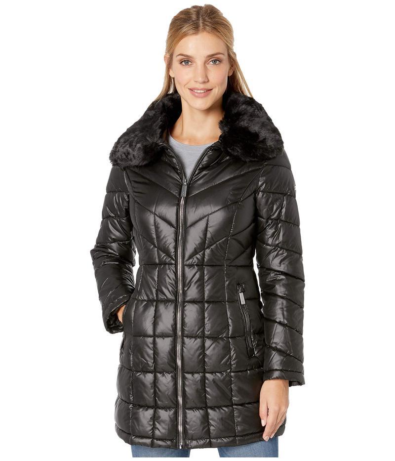 ケネスコール レディース コート アウター Zip Front Quilted Puffer w/ Faux Fur Trimmed Collar Black