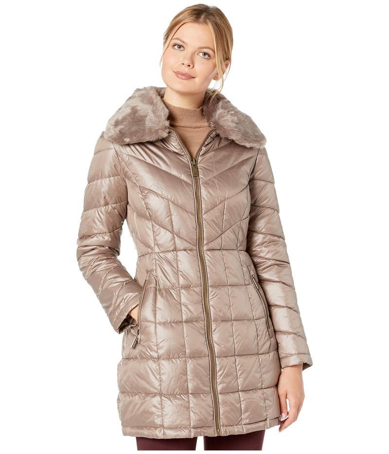 ケネスコール レディース コート アウター Zip Front Quilted Puffer w/ Faux Fur Trimmed Collar Thistle