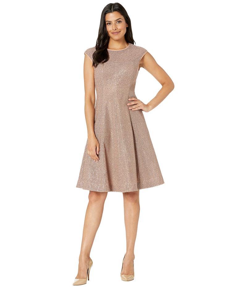 マギーロンドン レディース ワンピース トップス Illusion Sequin Fit and Flare Dress Brick