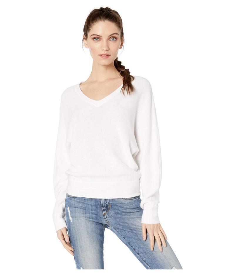 マイケルスターズ レディース ニット・セーター アウター Lanie Cotton Knit Long Sleeve Dolman V-Neck Pullover Sweater White