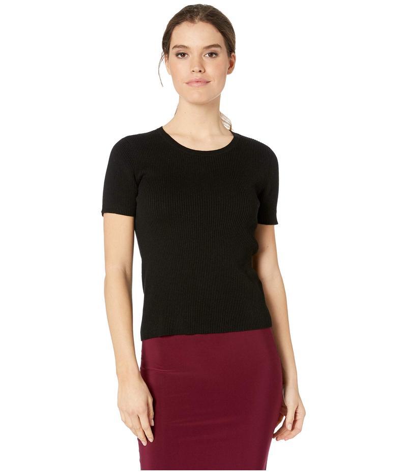 マイケルスターズ レディース ニット・セーター アウター Tori Ribbed Knit Short Sleeve Crew Sweater Black