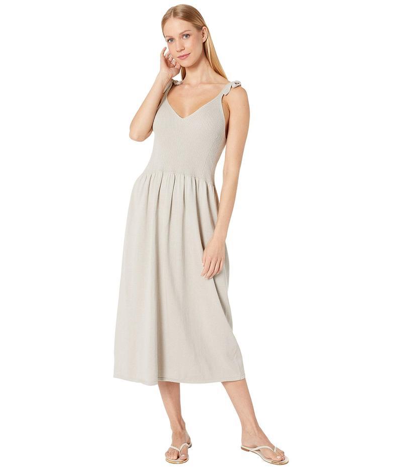マイケルスターズ レディース ワンピース トップス Cotton Knits Maria Ribbed Knit Dress with Tie Straps Stone