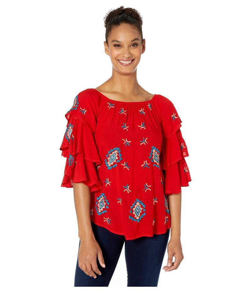 スカーリー レディース シャツ トップス Embroidered Tunic w/ Triple Ruffle Sleeves Red