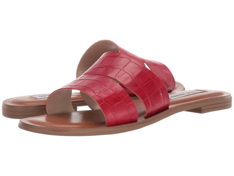 スティーブ マデン レディース サンダル シューズ Alexandra Flat Sandals Red Croco