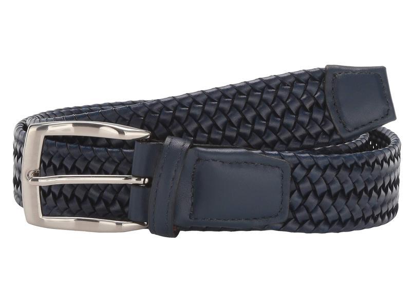 送料無料 サイズ交換無料 トリーノレザー メンズ アクセサリー ベルト Navy トリーノレザー メンズ ベルト アクセサリー 35 mm Italian Woven Stretch Leather Navy