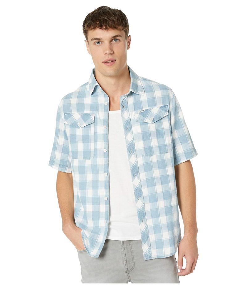 ジースター メンズ シャツ トップス Bristum Utility Straight Short Sleeve Shirt Indigo/Milk Check