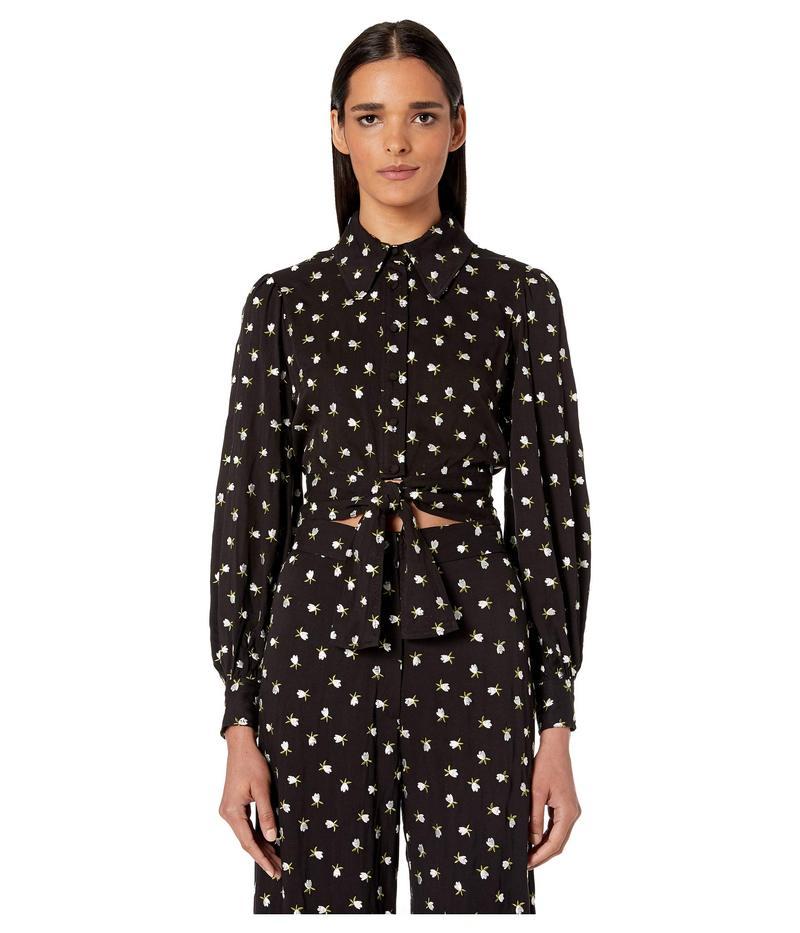 ジルスチュアート レディース シャツ トップス Embroidered Tie Blouse Black/Off-White