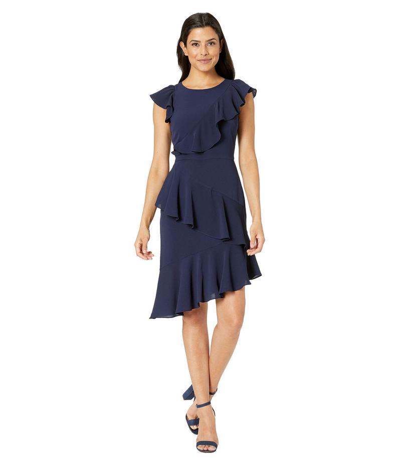 マギーロンドン レディース ワンピース トップス Catalina Crepe Asymmetric Sheath Dress Galaxy Blue