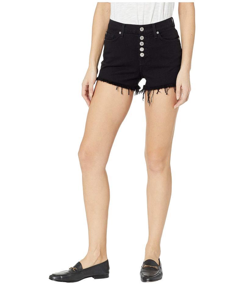 セブンフォーオールマンカインド レディース ハーフパンツ・ショーツ ボトムス High Waist Cut Off Shorts w/ Exposed Buttons in Pitch Black Pitch Black