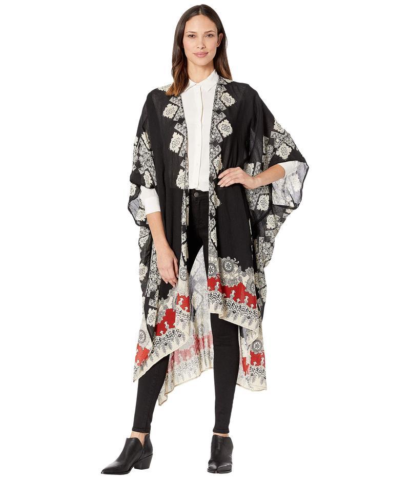 アメリカンローズ レディース シャツ トップス Camila Printed Kimono Black