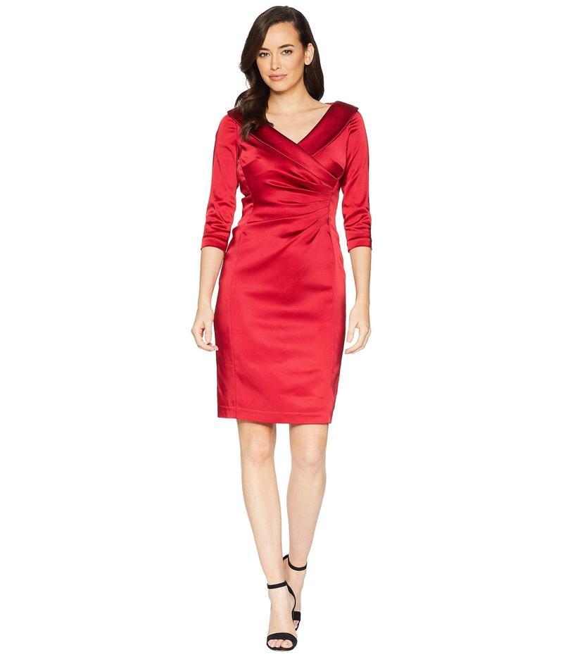 タハリ レディース ワンピース トップス Side Draped Stretch Satin Dress Lipstick Red