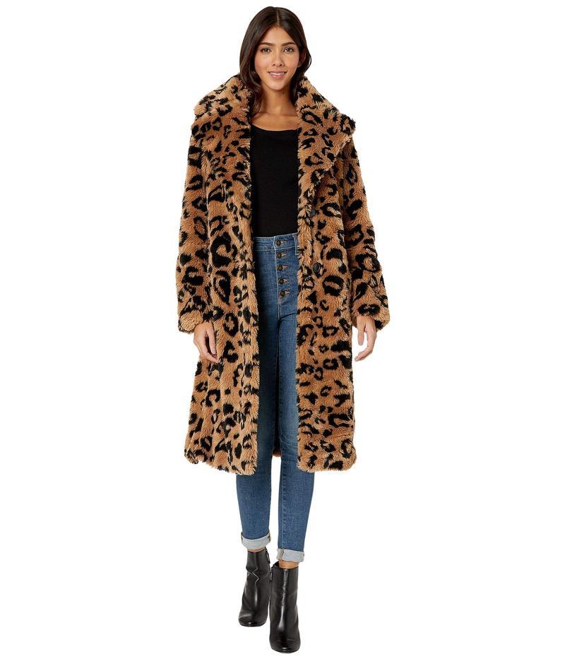 アヴェックレフィーユ レディース コート アウター Leopard Teddy Faux Fur Coat Camel/Black