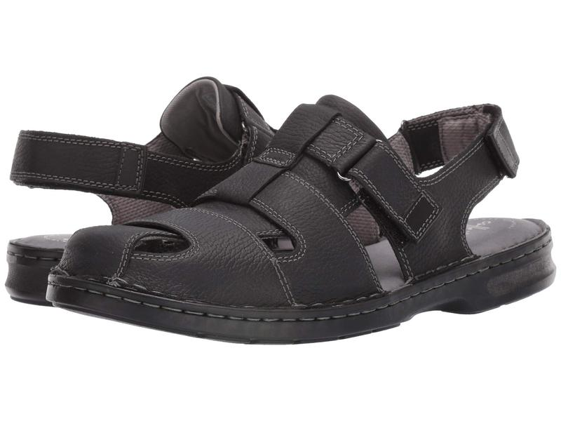 クラークス メンズ サンダル シューズ Malone Cove Black Tumbled Leather