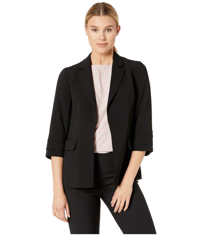 セセ レディース コート アウター 3/4 Sleeve Moss Crepe Tailored Blazer Rich Black